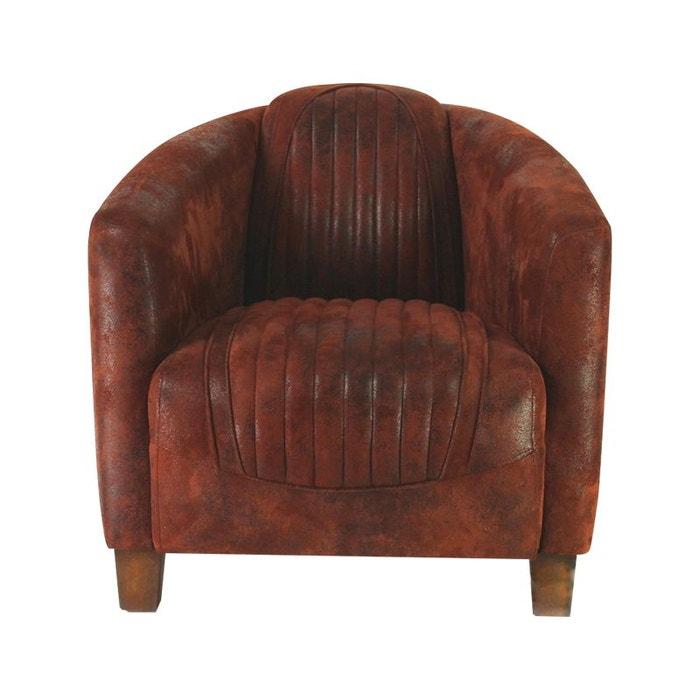 fauteuil club tissu rouge vintage kha home design la redoute. Black Bedroom Furniture Sets. Home Design Ideas