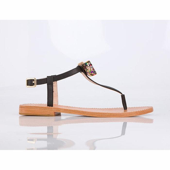 Sandales cuir détail nœud ballydolly noir Mellow Yellow