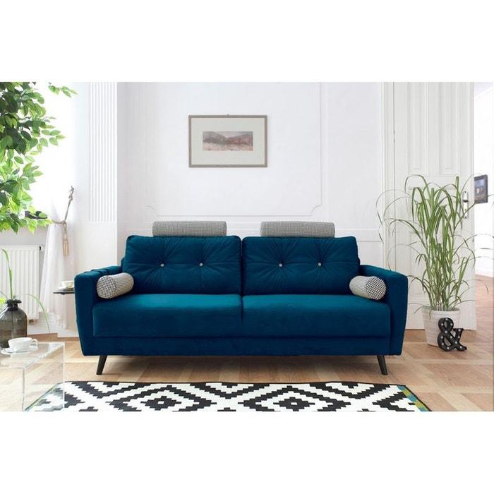 canap edition limit e scandi 3 places velours bleu canard avec bouton d co bleu bobochic la. Black Bedroom Furniture Sets. Home Design Ideas