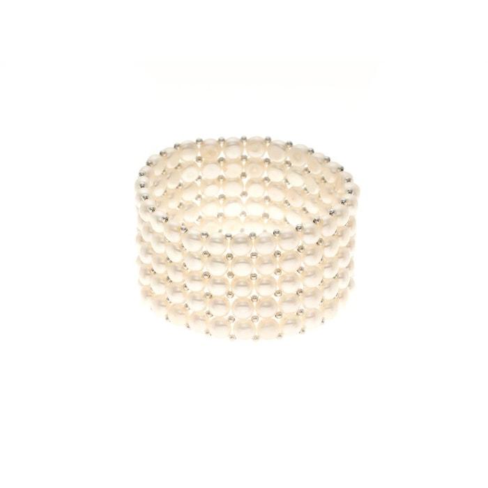 Haute Qualité Bracelet cinq rangs en véritables perles d'eau douce Traite La Vente En Ligne 4xS4HITQR