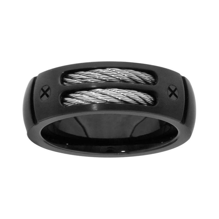 Bague double câble gris 2 vis noir acier inoxydable couleur unique So Chic Bijoux | La Redoute Bon Marché Vente En Ligne Acheter Pas Cher Grand Escompte Combien À Vendre Nice Vente En Ligne yFCybo6