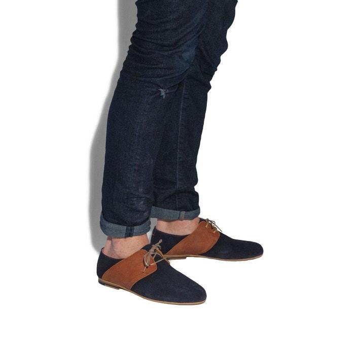 Marcel daim bleu et cuir cognac bleu marine M. Moustache