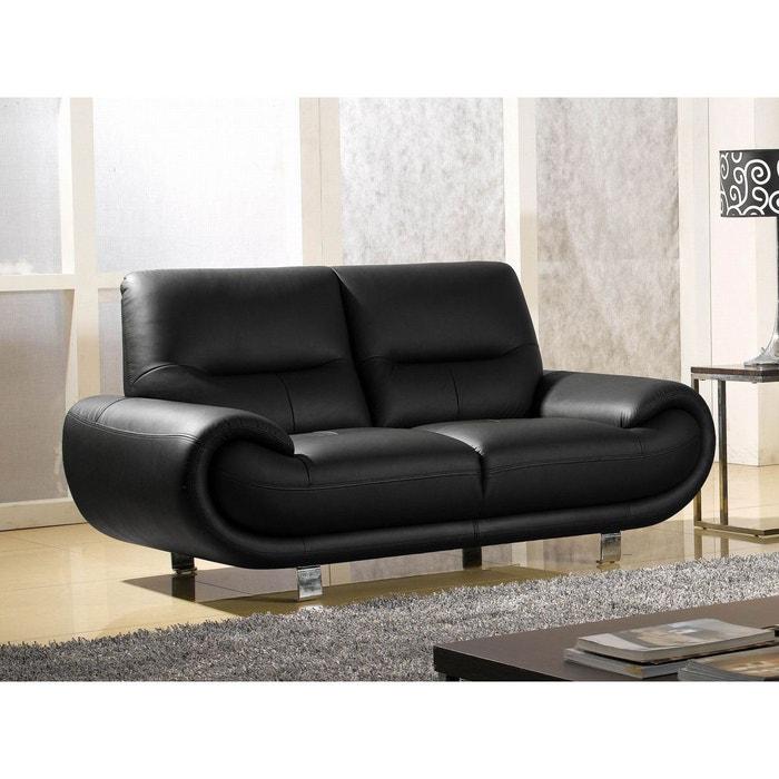 canap cuir 2 places angie noir la maison du canape la. Black Bedroom Furniture Sets. Home Design Ideas