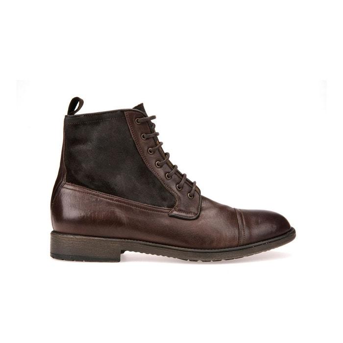 Boots cuir jaylon marron Geox