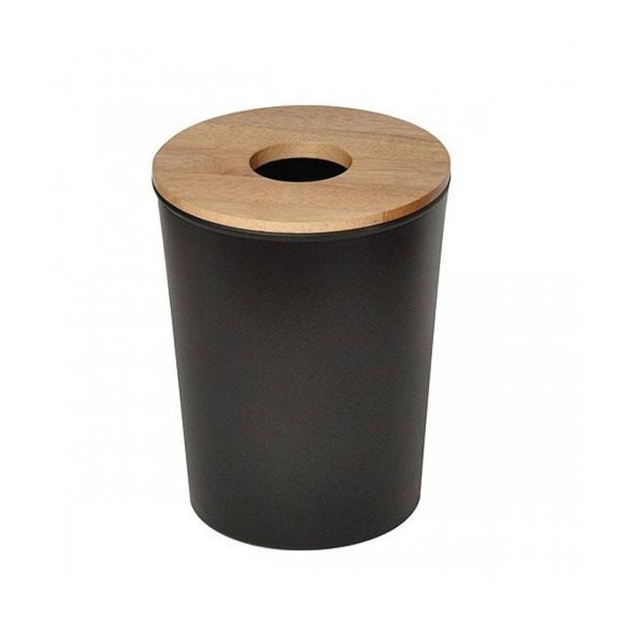 poubelle de salle de bain wc en plastique noir et couvercle bois noir wadiga la redoute. Black Bedroom Furniture Sets. Home Design Ideas