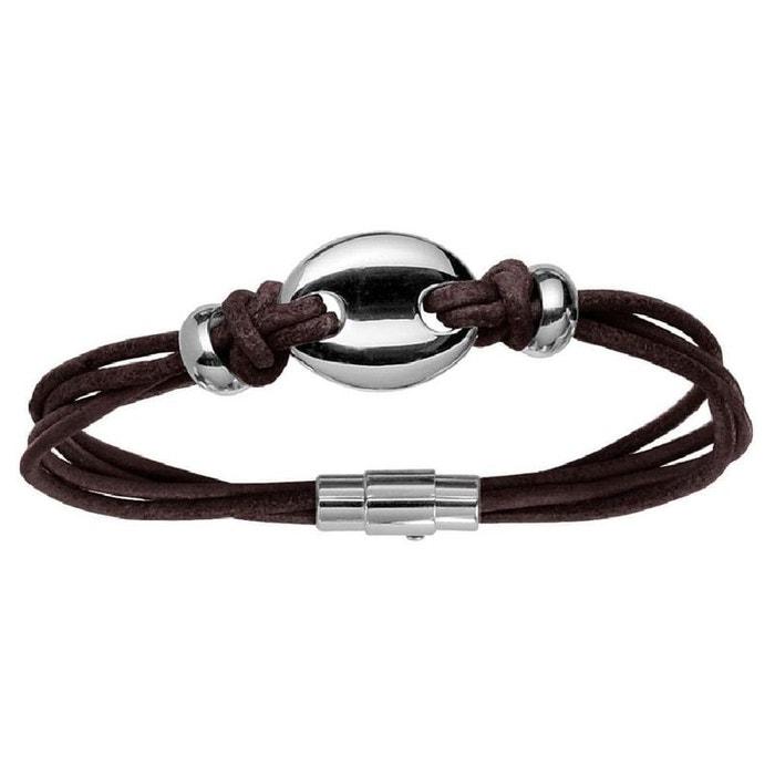 Meilleures Ventes Vente Sneakernews Bracelet mixte 20 cm cordon 4 rangs motif grain de café cuir marron acier inoxydable couleur unique So Chic Bijoux | La Redoute Jeu 2018 kirUq