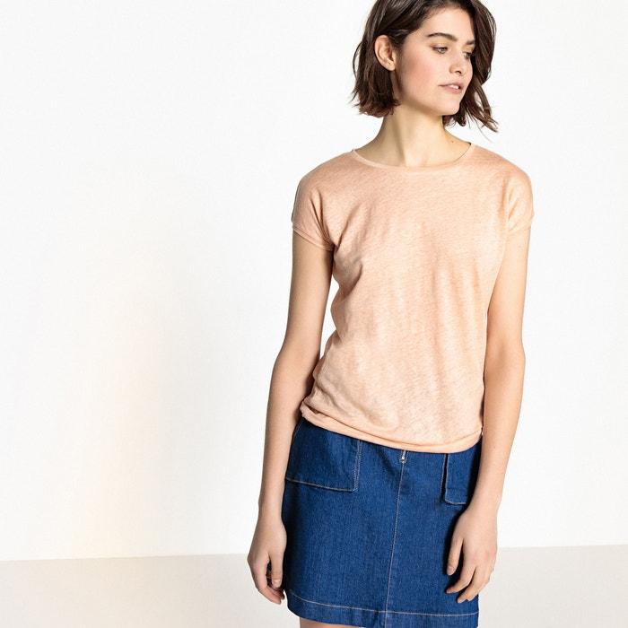 T-shirt basica, scollo rotondo in lino  La Redoute Collections image 0