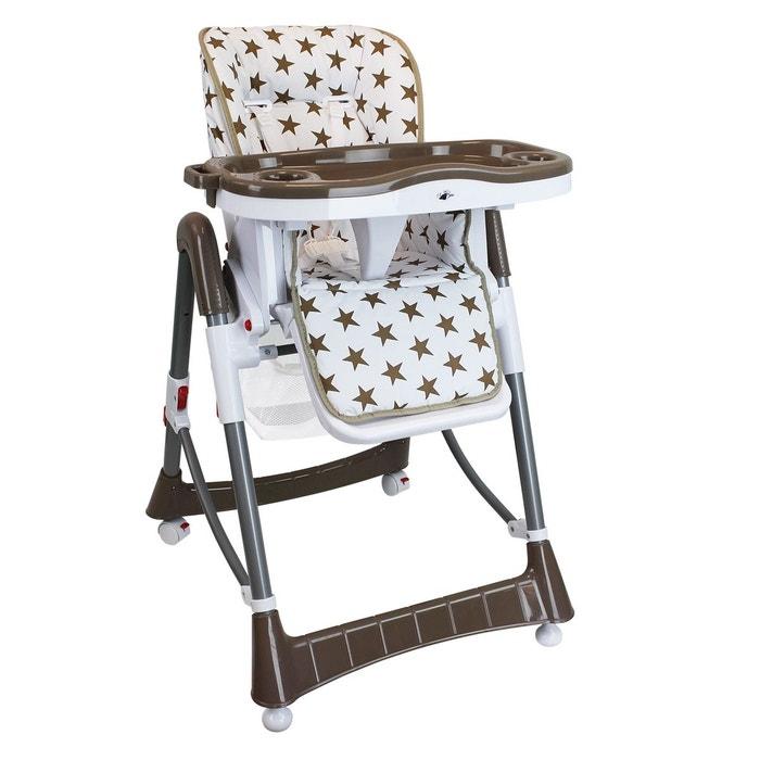 chaise haute b b pliable r glable hauteur dossier et tablette marron marron monsieur bebe. Black Bedroom Furniture Sets. Home Design Ideas