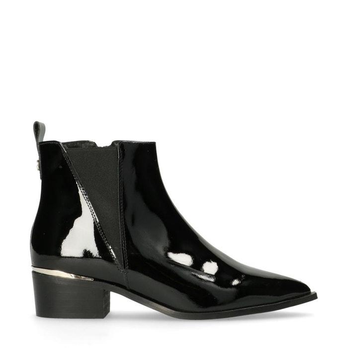 Chelsea boots en cuir verni noir Sacha