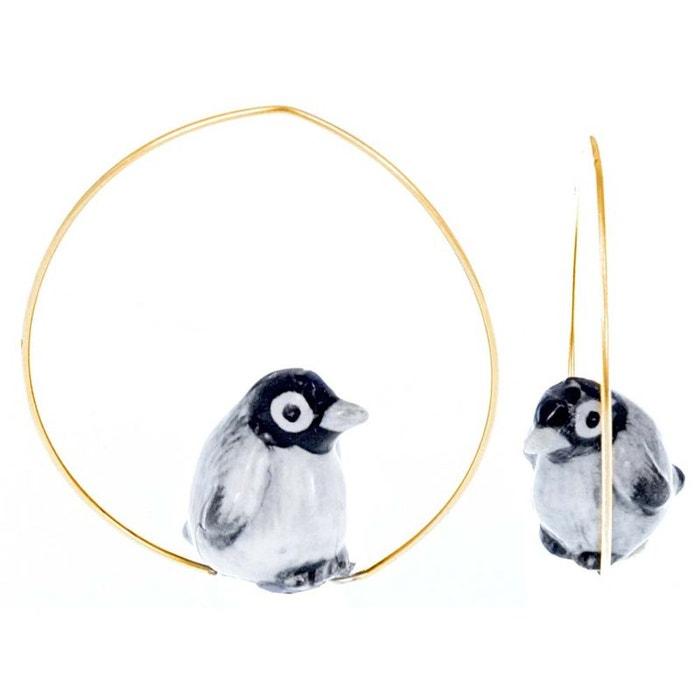 Créoles bébé pingouin en porcelaine. gris, noir, blanc, doré Nach Bijoux | La Redoute