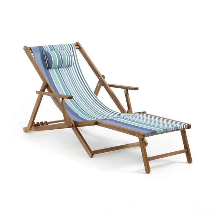 Chaise longue acacia et toile, amezza rayé bleu La Redoute ...