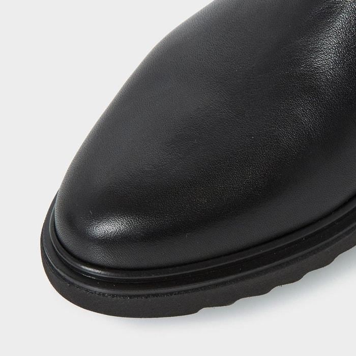 Bottes au genou avec empiècements stretch pour pieds larges - w tumbridge noir cuir Dune London