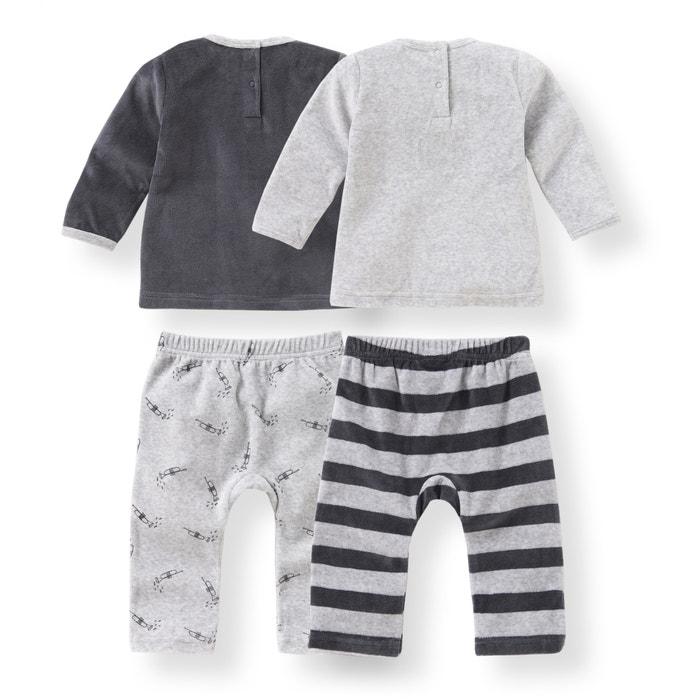 afbeelding Set van 2 fluwelen 2-delige pyjama's - Oeko Tex La Redoute Collections