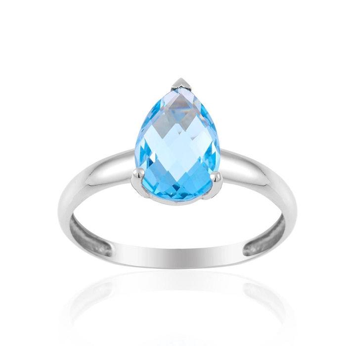 Bague en or 375/1000 blanc et topaze bleue bleu Cleor | La Redoute Paiement De Visa De Sortie k40p1q