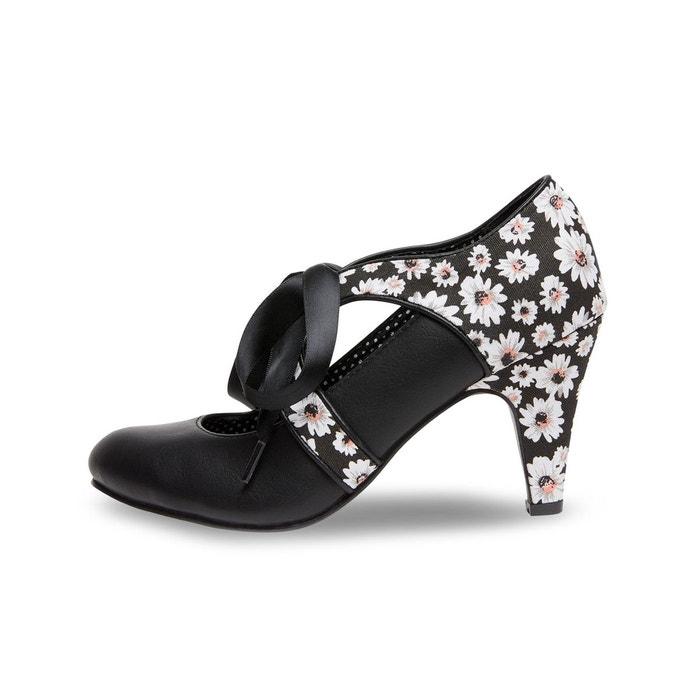 Chaussures à lacets rubans et imprimé marguerite joe browns femme  noir Joe Browns  La Redoute