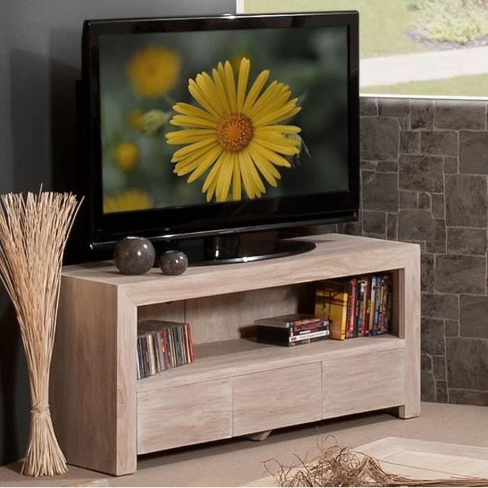 Meuble Tv 120cm Bois De Teck 3 Tiroirs 1 Niche Style Contemporain Diane Bois Naturel Pier Import La Redoute
