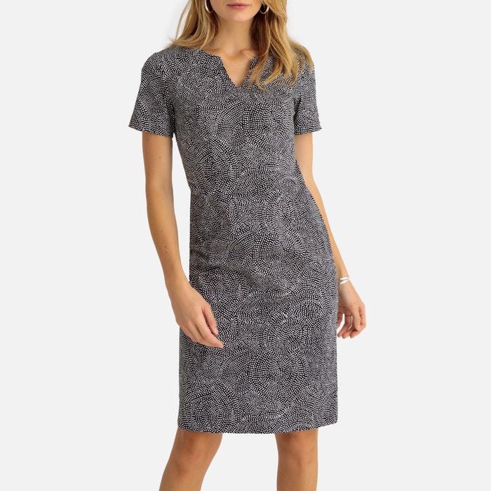 e13b7fbb7a2b94 Rechte jurk in satijn stretch bedrukte zwarte fond Anne Weyburn
