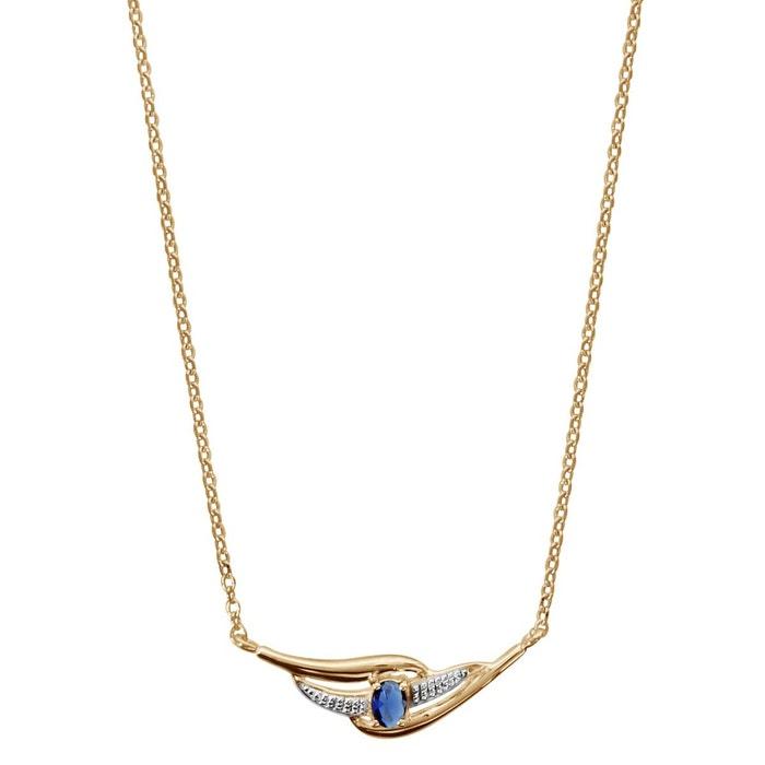 Nouveau Débouché Choisir Une Meilleure Prise Collier longueur réglable: 43 à 45 cm oxyde de zirconium bleu plaqué or 750 couleur unique So Chic Bijoux | La Redoute Magasin Discount 4asfaDsDD7