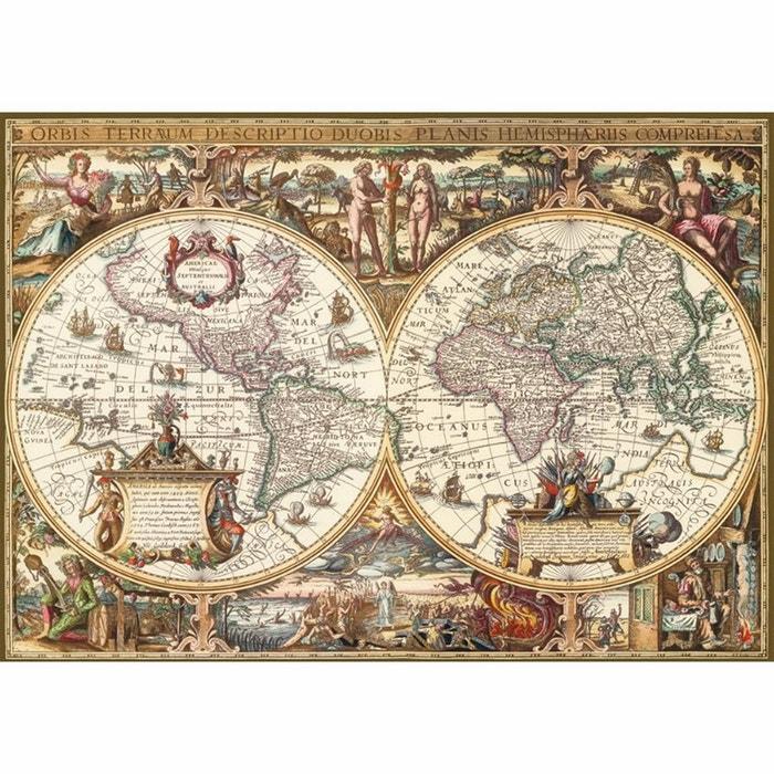 Puzzle 1000 Pi 232 Ces Impression Bois Mappemonde Antique