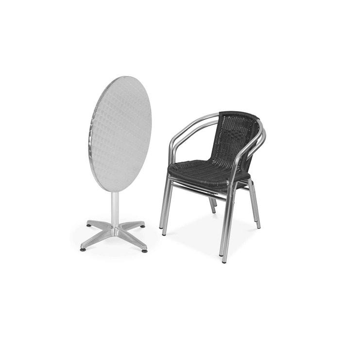 Table de jardin ronde en aluminium et 2 fauteuils