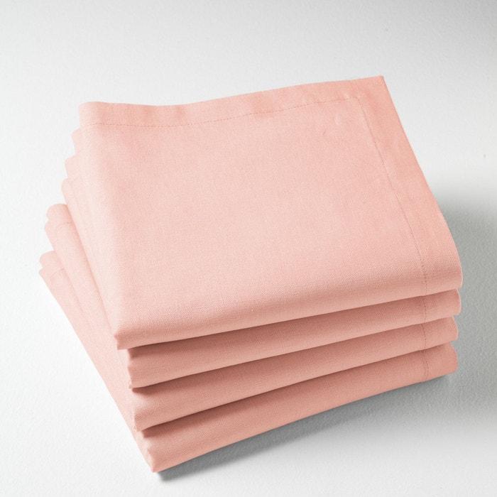 Serviettes de table en m tis lot de 4 border rose - Serviette de table brodee ...