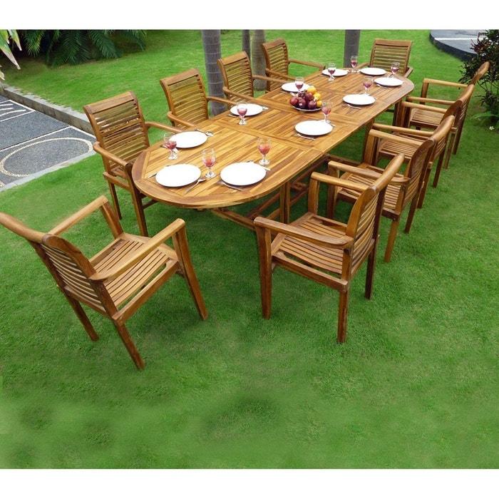 Salon de jardin en teck table 3 m tres 10 fauteuils - La redoute salon de jardin ...