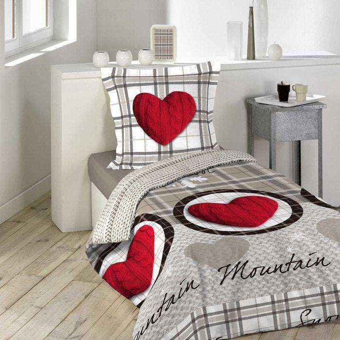 parure housse de couette imprime collection montagne coeur rouge gris douceur d 39 int rieur la. Black Bedroom Furniture Sets. Home Design Ideas