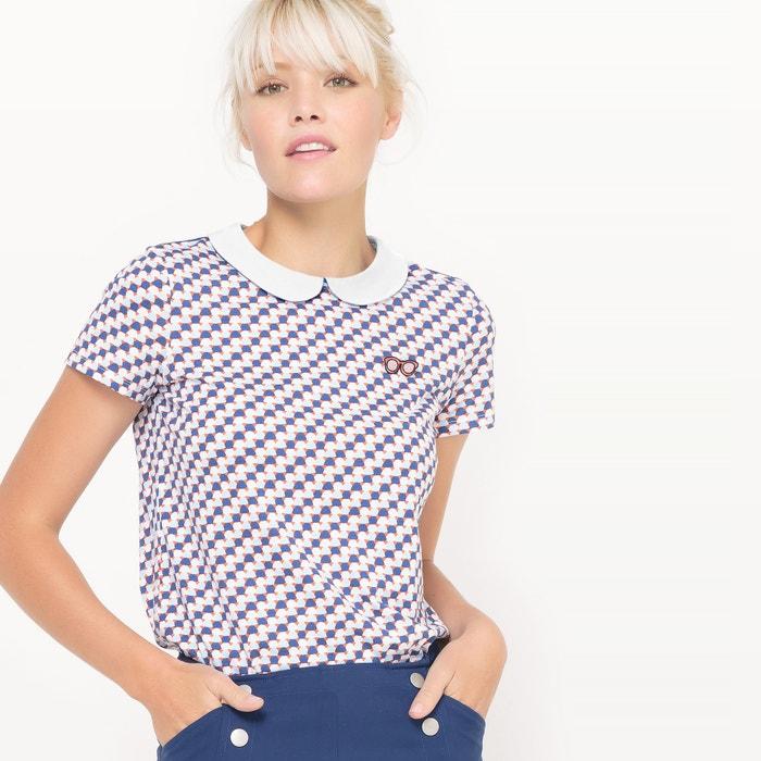 Image Tee shirt col claudine, imprimé MADEMOISELLE R