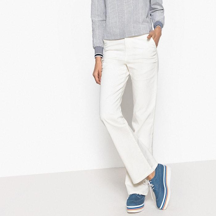 pantalon flare 5 poches blanc la redoute collections la. Black Bedroom Furniture Sets. Home Design Ideas