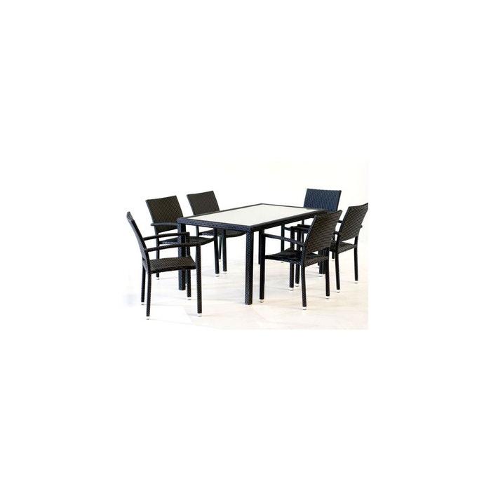 salon de jardin 6 fauteuils en poly rotin table 150 cm