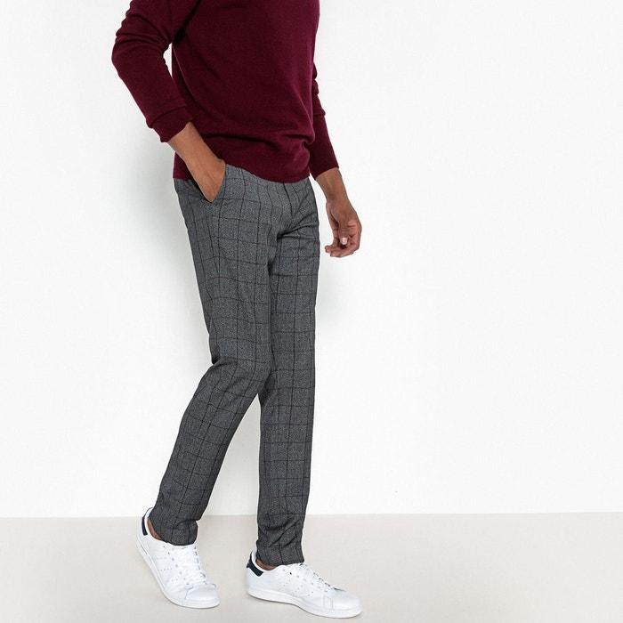 pantalon slim carreaux gris anthracite chin la redoute. Black Bedroom Furniture Sets. Home Design Ideas