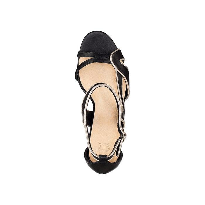 Sandales cuir brides asymétriques noir La Redoute Collections