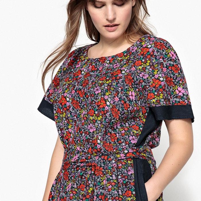 32b14c5b26c8b Robe droite courte imprimée fleurs manches courtes imprimé Castaluna   La  Redoute