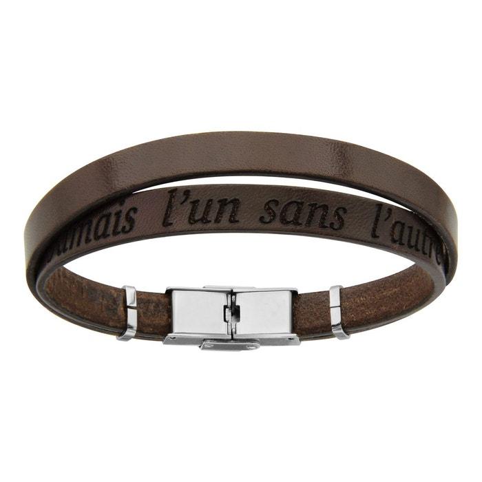 Bracelet modèle homme 20 cm longueur réglable cuir marron