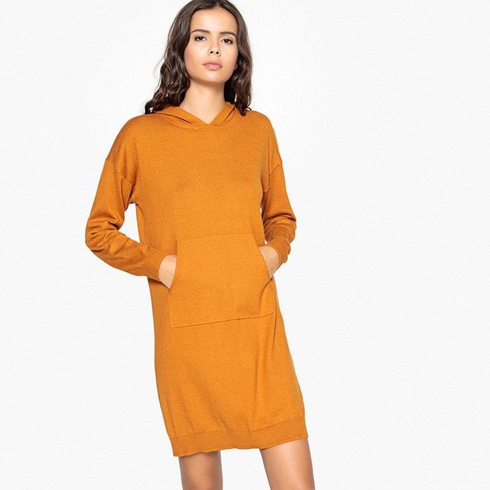746380538bdf1 Robe pull unie à capuche, poches devant cannelle La Redoute Collections |  La Redoute