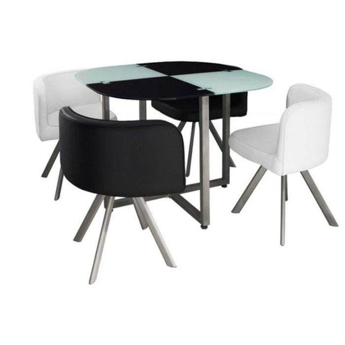 Table Repas Damier Avec 4 Chaises Ipnoz Noir Declikdeco La Redoute