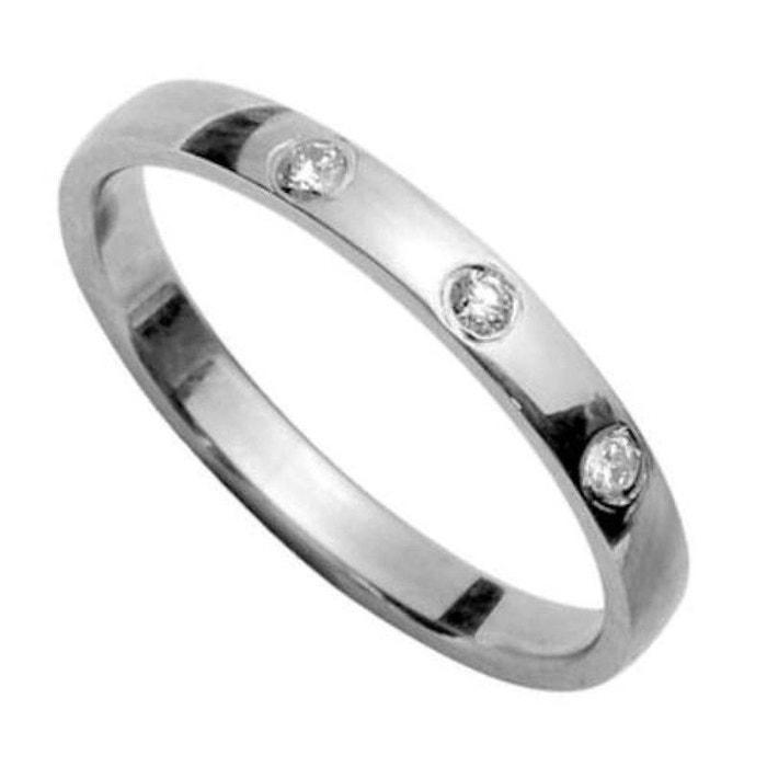 Bague alliance anneau joaillerie 2 mm 3 diamants blancs argent 925 couleur unique So Chic Bijoux   La Redoute Parfait Pas Cher ZuREvMiF