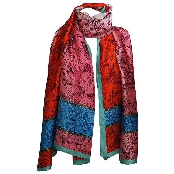 Grand foulard soie orlan cachemire orange Chapeau-Tendance   La Redoute 20ccd18e67d