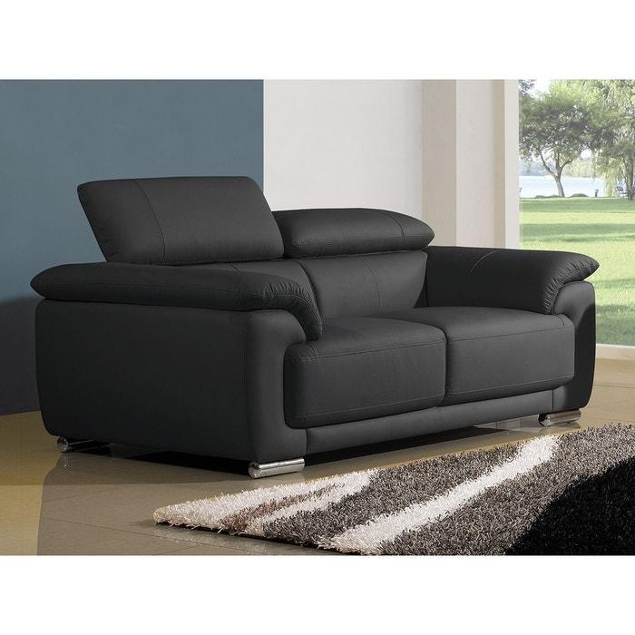 canap cuir 2 places marjorie noir la maison du canape. Black Bedroom Furniture Sets. Home Design Ideas