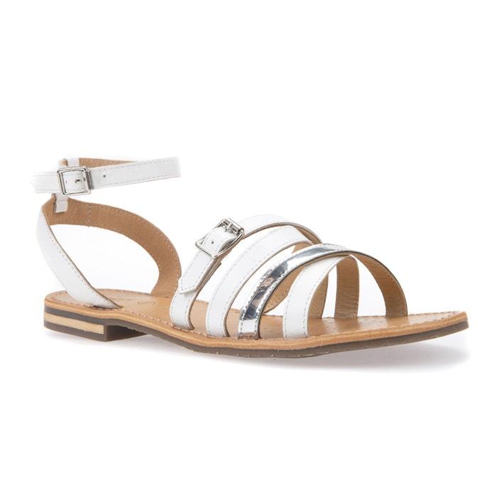 Sandales plates en cuir blanc/argent GEOX