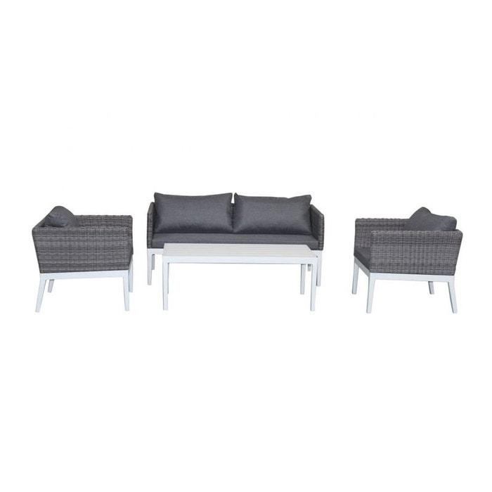 Salon de jardin cap-ferret 4 pièces en aluminium blanc et résine ...