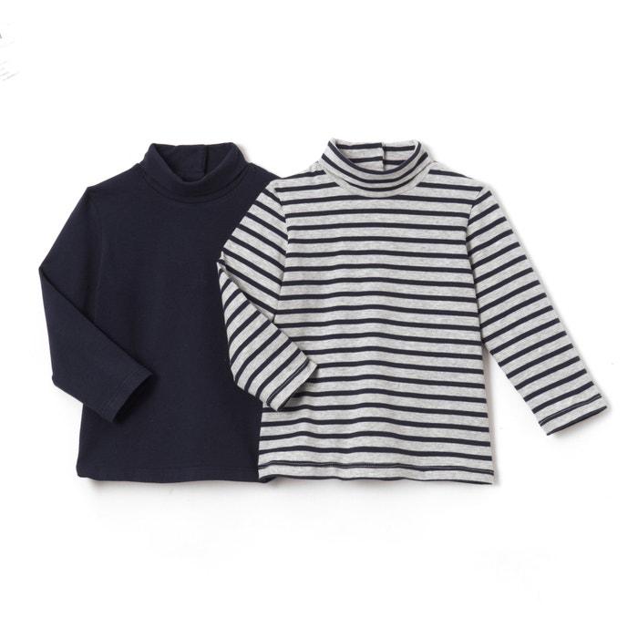 Confezione da 2 T-shirts collo dolcevita 1 mese - 3 anni  La Redoute Collections image 0