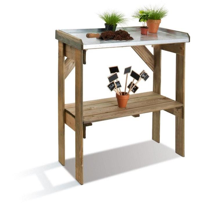 table de rempotage bois et zinc couleur unique jardipolys la redoute. Black Bedroom Furniture Sets. Home Design Ideas