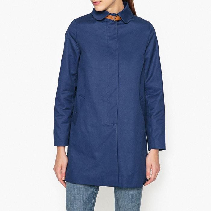 Manteau droit avec détail cuir GLORIA SESSUN