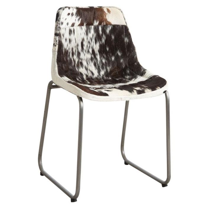 chaise en peau de vache noire et blanche naturel aubry gaspard la redoute. Black Bedroom Furniture Sets. Home Design Ideas