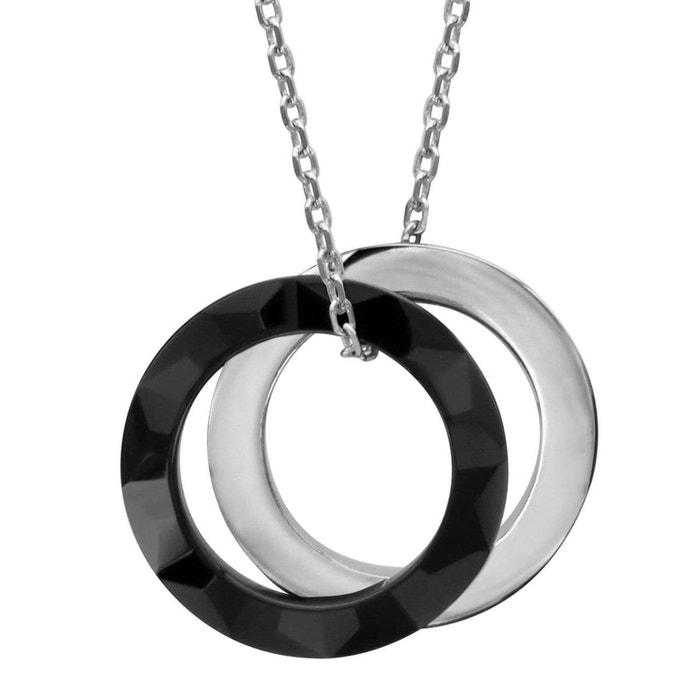 Collier longueur réglable: 40 à 44 cm céramique noire anneaux argent 925 couleur unique So Chic Bijoux   La Redoute Réduction Manchester NHVFyTB3A