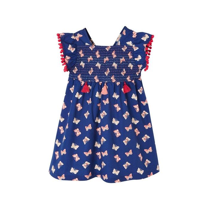 77738575919 Robe à smocks fille imprimée papillons manches à volants bleu royal imprime  Vertbaudet