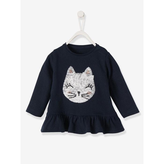3f3bec730d488 T-shirt lapin en sequins bébé fille bleu foncé imprimé Vertbaudet ...