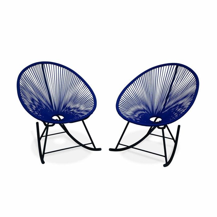 ensemble de 2 fauteuils bascule acapulco chaise oeuf design r tro rocking bleu roi bleu roi. Black Bedroom Furniture Sets. Home Design Ideas