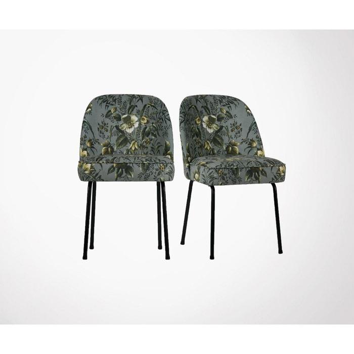 Lot 2 chaises design crapaud velours fleuri VOGUE